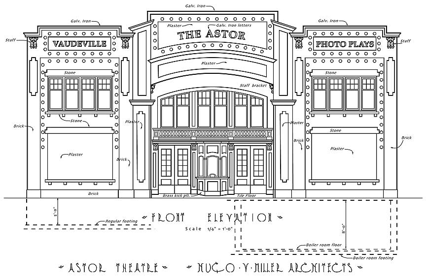 Front Elevation Definition Theatre : Astor theater history